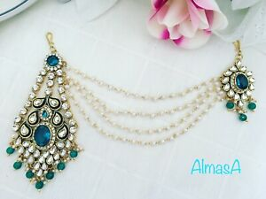 Green Pearl Kundan Hijab Indian Bridal Matha Patti Tikka Head Piece Jewellery