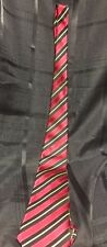 Mens Neck Tie Necktie Regular Size Ferrecci Uomo Italy Red Black Gold Stripe