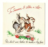 Scarce vintage WALT DISNEY GREETING CARD Hallmark 1943 Thumper BAMBI rabbits EX