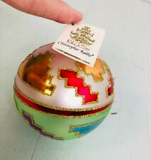 "Early Christopher Radko 3 1/2"" glass ball ornament aztec design"