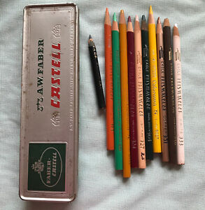 Vintage A W Faber Castell Pencil Box Tin With Various Colored Pencils Metal