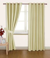 CREAM FAUX SILK 46X90 THERMAL LINED BLACKOUT HEAVYWEIGHT RING TOP CURTAINS