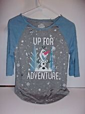 Olaf Up for Adventure Long Sleeve Gray and Light Blue Shirt Size Large 10/12 667