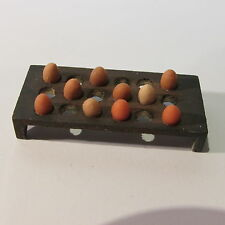 Artisan made wooden egg tray with eggs ~ doll house miniature ~ 1/24 scale