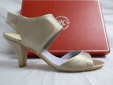 Johnston & Murphy Size 7.5 M Evie Satin Beige Open Toe Heels New Womens Shoes