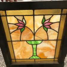 1920s Stained Milk Glass Dining Room Window Architectural Salvage Pattern