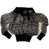 Dolce & Gabbana Sweater Top S Wool Knit Sheer Floral Black White