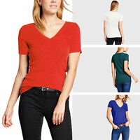 Womens V Neck T Shirts Basic Tee Solid Plain Cotton Short Sleeve Casual