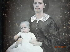 DAGUERREOTYPE Very Pretty Young Mother & BABY BOY BLUE DRESS FLESH TONE SKIN