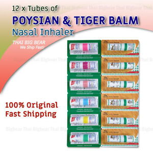 12 Tubes Of Inhaler Poysian Tiger Balm Thai Nasal Inhaler Eucalyptus Menthol