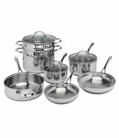 NEW TRU CHEF TRIPLE LAYER 10 PIECE STAINLESS STEEL COOKWARE SET