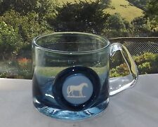Wedgwood Blue Glass White Stallion Blue Jasper Cameo Half Pint Tankard