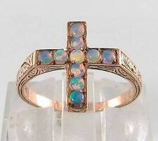 9CT 0K ROSE GOLD CRUCIFIX  OPAL RELIGIOUS CROSS RING  FREE RESIZE