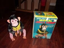 Vintage Battery Operated Musical Jolly Chimp in Original Box Rare Korea Works