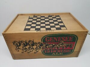 ADVERTISING GENESEE 12 HORSE ALE WOOD WOODEN BEER CRATE BOX W/ CHECKERS LID