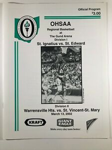 LeBron James 2002 St. Vincent-St. Mary Ohio OHSAA High School Basketball Program