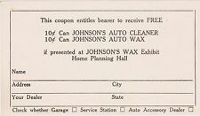 RARE SCARCE 1933 WORLDS FAIR COP COUPON FREE CANS OF JOHNSON'S PRODUCTS CHICAGO
