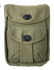 """Pouch Olive Drab GI Style Canvas 2 Pocket Ammo Pouch w/ Belt Loops 8"""" X 6.5"""" X 2"""