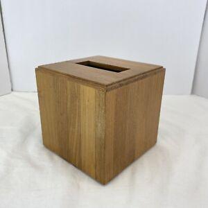 Restoration Hardware Wood Teak Tissue Box Cover