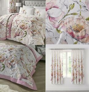 Peony Pink/Ruby Floral Duvet Cover Sets-Bedding Sets,Matching Curtains Available