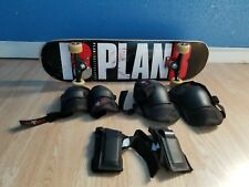Pro plan b skateboard with wrist pads and elbow pads and knee pads