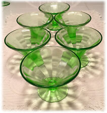 Set of 6 Federal Green Panel Optic Footed Sherbet Stems Depression Glass 1930s