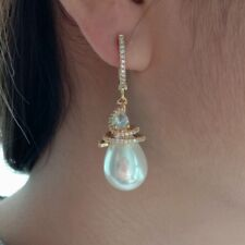 White Teardrop Shell Gold Plated Cz pave Lever back Earrings 2.5''
