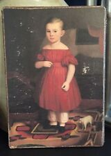 Antique Repro Primitive Girl in Red Dress Pull Toy Print on Canvas Board 5x7""