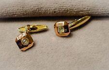 Antique 1910 Single-sided Square Gold-tone Cuff Links w/Rhinestone Center~10 mm