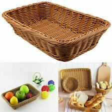 Vintage Domestic Rattan Handmade Basket Bread Fruit Holder PP Storage Container