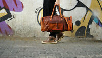 """24"""" Mens Brown Vintage Genuine Travel Luggage Duffle Gym Bags Tote Goat Leather"""