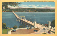 Linen Postcard B438 Lake Washington Floating Bridge Seattle WA 1930s Cars