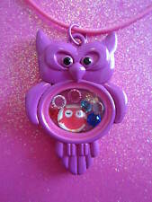 7 crystals and charm Usa Living Memory Pink Owl Locket with