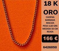 18K Cadena Barbada Maciza 50 Cm Oro 18 Kilates 100%