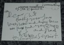 SOPHIE THOMPSON -CORONATION ST /HARRY POTTER - HANDWRITTEN NOTE-