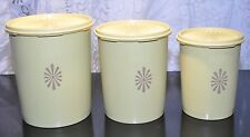 Set of 3 Golden Harvest Yellow Tupperware Servalier Canisters