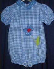 Girl 3-6m Blue White Gingham 1pc Jumper Embroidered BG150