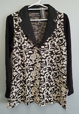 BNWT Ladies Sz 20 Eversun Brand Gorgeous Black White Lapel Long Sleeve Tunic