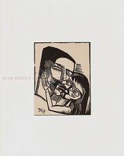 KARL SCHMIDT-ROTTLUFF - KISS IN LOVE 1918 * RARE RELIGIOUS PRINT * Mounted