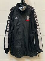 Vintage 90s ADIDAS Logo Track Top Jacket Black XL Full Zip Sports Embroided