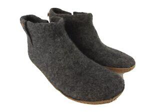 MagicFelt Mens Lightweight Gray Wool Booties Slippers Leather Bottoms Size 11