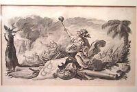 antique original 1778 Choffard Monet copper plate figural war engraving print