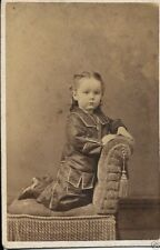 victorian or earlier playing  card size pic of infant detailed period dress
