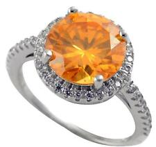 Ring 925 Sterling Silver Size 6.5 3.50 ct Round Topaz Cz Center Engagement
