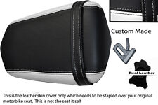 BLACK AND WHITE  CUSTOM 03-05 FITS YAMAHA 600 YZF R6 REAR LEATHER SEAT COVER