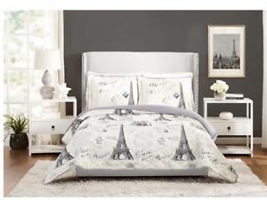 "Mainstays Paris France Eiffel Tower Quilt KING Blanket Cream Black 104"" x 90"""