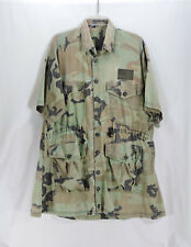 US Army Camo Shirt Drawstring Waist 4 Pocket Button Frt Subdued USA Flag Patch