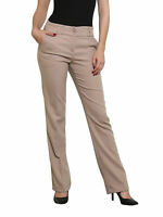 Women's Tailored straight leg Work Office Business Trousers coffee milk  UK 6-14