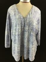 Ruby Rd Woman knit top Size 2X blue beaded neckline 3/4 sleeve stretch