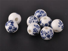 10pcs 10mm Round Porcelain Classic Flowers Patten Charms Loose Beads Findings